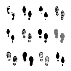Set of footprints and shoeprints icons