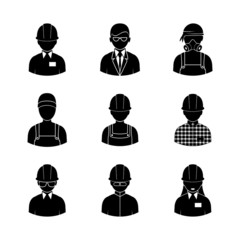 workers silhouettes icons