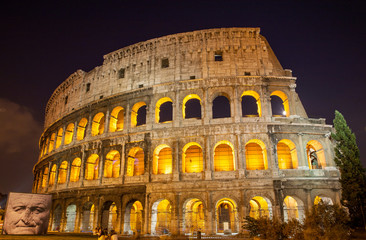 Night view of The Colosseum in Rome, Italy