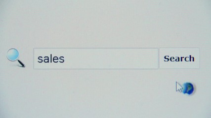 Sales - browser search query, Internet web page