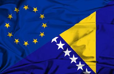 Waving flag of Bosnia and Herzegovina and EU