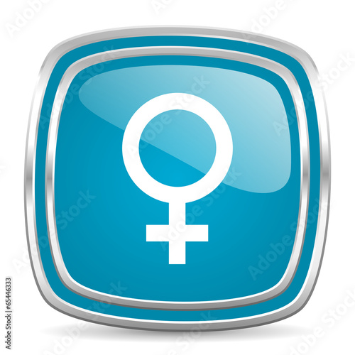 female blue glossy icon