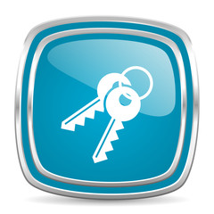 keys blue glossy icon