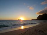 Early Morning Sunrise on Waimanalo Beach over Rabbit Island burs poster
