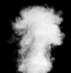 Real white steam on black background.