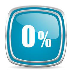 0 percent blue glossy icon