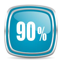 90 percent blue glossy icon