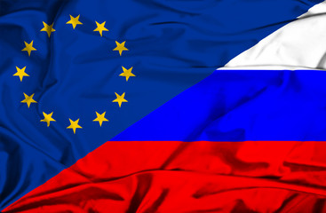 Waving flag of Russia and EU