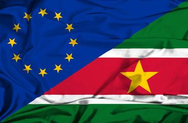 Waving flag of Suriname EU