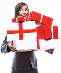 Happy Business woman hold gift box. White background isolated