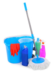 Different tools for cleaning floor in room