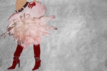 floral skirt, accessories (gloves, belt) and boots red, vintage