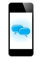 Smartphone mit blauen Sprechblasen – Vektor/freigestellt