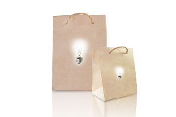 Idea paper bag isolated on white background
