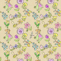 Floral doodles seamless pattern