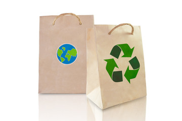recycle paper bag isolated on white background, love the earth c