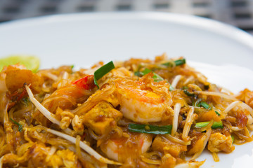 Close up image of Thai food Pad thai