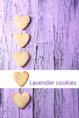 Lavender cookies on color wooden background