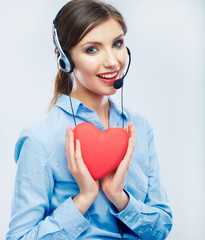 Woman call center operator hold love symbol of Valentine day. R