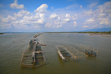 Fish farms at chanthaburi,Thailand