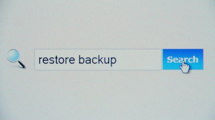 Restore backup - browser search query, Internet web page
