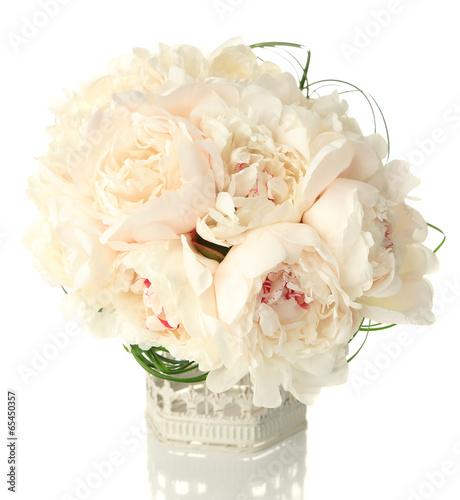Obraz na Szkle Beautiful wedding bouquet in decorative birdcage isolated