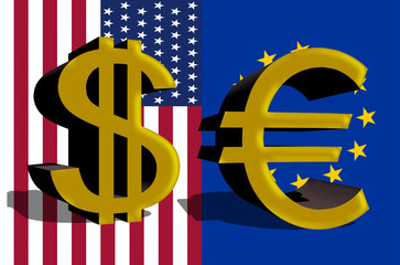 Dollar sign of the USA and Euro currency