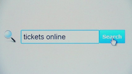 Tickets online - browser search query, Internet web page