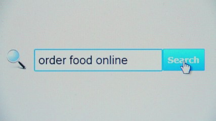 Order food online - browser search query, Internet web page