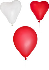 three white and red isolated balloons