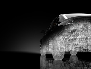 3d car model on a black background