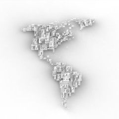 3d white map of south and north america, cube design