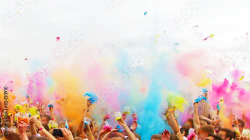 canvas print picture Colorful life - holi party