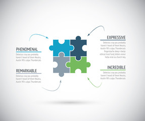 Business metaphors, four puzzle pieces jigsaw vector