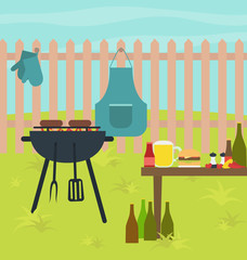 Barbecue grill summer party scene illustration vector