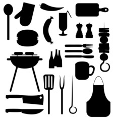 Set of barbecue party black vector icons silhouettes