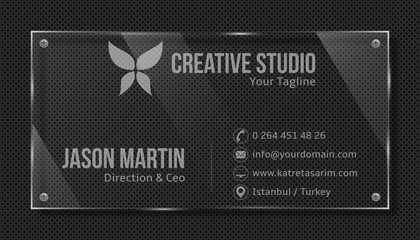 Decorative business card. Glass panel on metallic texture