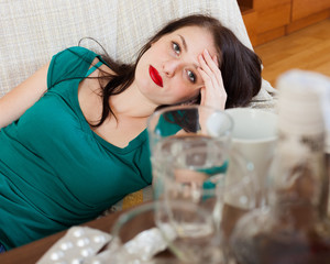 Suffering woman having hangover