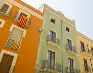 Balconies in Catalonia with the flag of independence.