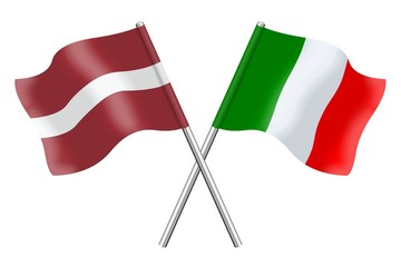 Flags : Latvia and Italy