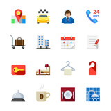 Fototapety Hotel and Hotel Amenities Services Icons