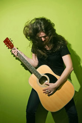 Rock woman and guitar