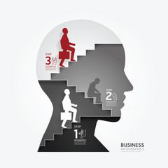 businessman up the Ladder paper cut style template.