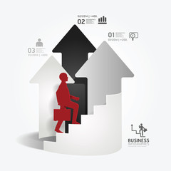 businessman up the Arrow Ladder paper cut style template.