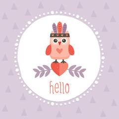 cute hipster owlet purple