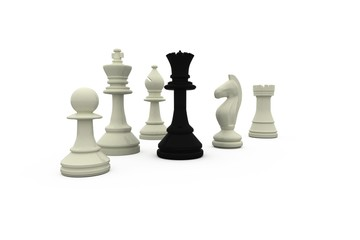 Black queen standing with white pieces