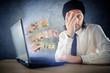 Online money funds, surprised businessman receiving cash over in