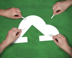 Composite image of multiple hands writing cloud computing icon w