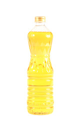 Bottle of vegetable oil for cooking isolated on white