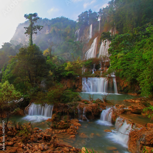 Deep Forest beautiful waterfall at Thi Lo Su, Tak, Thailand - 65455147
